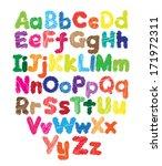 alphabet kids doodle colored... | Shutterstock .eps vector #171972311