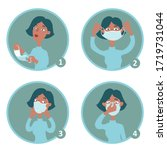 a woman shows how to wear a... | Shutterstock .eps vector #1719731044