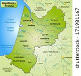 map of aquitaine with borders... | Shutterstock . vector #171981167