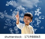 asian children press the flying ... | Shutterstock . vector #171988865