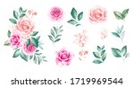 set of watercolor flowers... | Shutterstock . vector #1719969544