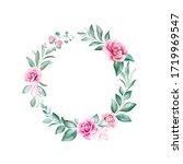 watercolor floral frame....   Shutterstock . vector #1719969547