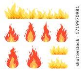 fire flame  bonfire. red yellow ... | Shutterstock .eps vector #1719970981