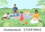 family relaxing at a picnic in... | Shutterstock .eps vector #1719978961