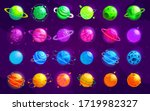vector set of cartoon planets.... | Shutterstock .eps vector #1719982327