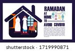 ramadan at home during covid19. ... | Shutterstock .eps vector #1719990871