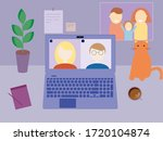 stay and work from home. remote ... | Shutterstock .eps vector #1720104874