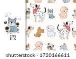 cartoon cute dogs characters.... | Shutterstock .eps vector #1720166611