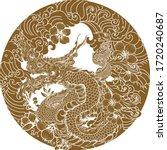 thai naga dragon tattoo.thai... | Shutterstock .eps vector #1720240687