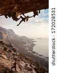 rock climber at sunset ... | Shutterstock . vector #172028531
