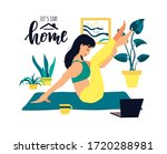 girl doing yoga at home with...   Shutterstock .eps vector #1720288981