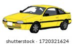 90s yellow coupe car. drawing... | Shutterstock . vector #1720321624