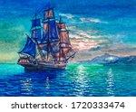 Old Big Sailboat. Vintage Sail...