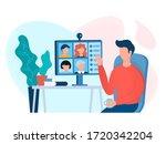 webinar  online meeting concept ... | Shutterstock .eps vector #1720342204
