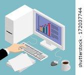 flat design isometric computer... | Shutterstock .eps vector #172037744