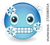cold emoji kawaii face. frozen... | Shutterstock .eps vector #1720380514