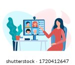 home office  web conference... | Shutterstock .eps vector #1720412647