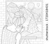 girl artist paints a landscape ...   Shutterstock .eps vector #1720418431