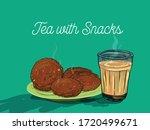 tea with snacks vector...   Shutterstock .eps vector #1720499671
