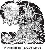 hand drawn doll daruma and thai ... | Shutterstock .eps vector #1720542991