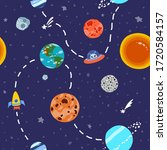 space pattern with planets and...   Shutterstock .eps vector #1720584157
