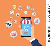 shopping online concept for... | Shutterstock .eps vector #1720621687