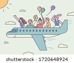 people are traveling by plane.... | Shutterstock .eps vector #1720648924