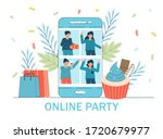 online party  birthday  meeting ... | Shutterstock .eps vector #1720679977