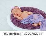 Newborn Baby In Violet Knitted...