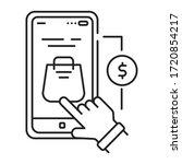 app purchase black line icon....