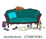 cat mess room. pop art retro... | Shutterstock .eps vector #1720874281