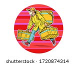 courier in a medical mask. food ... | Shutterstock .eps vector #1720874314