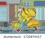 city street. courier in a... | Shutterstock .eps vector #1720874317