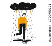 the man is sad  hand drawn...   Shutterstock .eps vector #1720950121