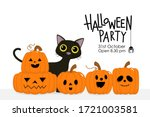 happy halloween party... | Shutterstock .eps vector #1721003581