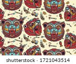 bear grizzly seamless pattern.... | Shutterstock .eps vector #1721043514