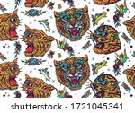 tigers seamless pattern. old... | Shutterstock .eps vector #1721045341