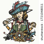 pirate girl. crime sailor woman ... | Shutterstock .eps vector #1721048011