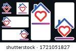 heart inside house frame social ... | Shutterstock .eps vector #1721051827