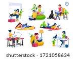 trendy homes studio at woman... | Shutterstock . vector #1721058634