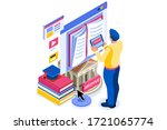library reading page for study. ... | Shutterstock .eps vector #1721065774