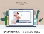 laptop presenting online... | Shutterstock .eps vector #1721074567