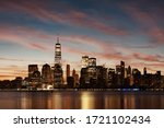 New York City skyline urban view with historical architecture  - stock photo