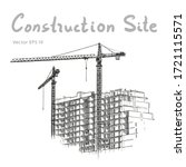 building construction and tower ... | Shutterstock .eps vector #1721115571