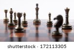 Bronze Chess Set On White...