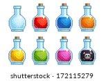 set of pixel bottles with... | Shutterstock .eps vector #172115279