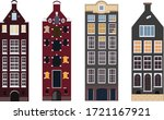 Three Amsterdam Houses In Vector