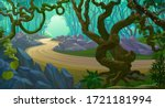 creepy branches tangled across... | Shutterstock .eps vector #1721181994