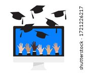 virtual graduation ceremony.... | Shutterstock .eps vector #1721226217