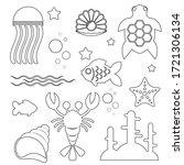black and white image of marine ... | Shutterstock .eps vector #1721306134